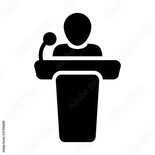 Obraz Conference icon vector male person on podium symbol for business meeting with microphone in glyph pictogram illustration - fototapety do salonu