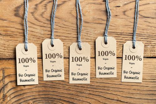 Hangtags mit Aufschrift 100% Bio Organic Baumwolle Canvas Print