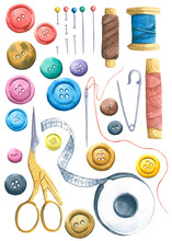 Watercolor Sewing Tools - Scis...
