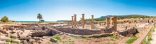 Panorama View Of The Ancient Romans Ruins Of Baelo Claudia, Next To The Beach Of Bolonia, Near Tarifa In Cadiz In The South Of Spain.