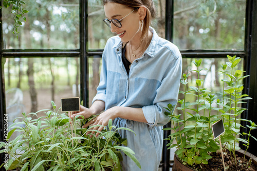 Photo Young woman taking care of plants, growing herbs and flowers in the beautiful gr