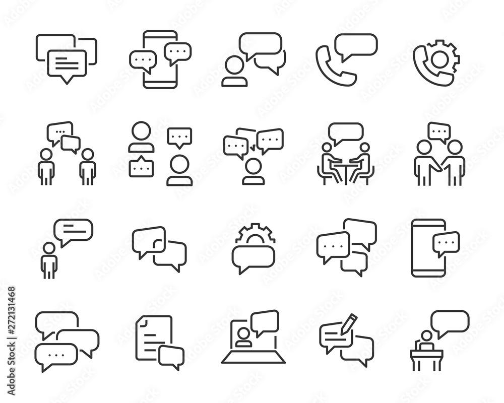 Fototapeta set of discussion line icons, meeting, bubble, chat, conversation, social