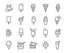 Set Of Ice Cream Line Icons, Such As Ice Cream Cone, Sundae, Chocolate