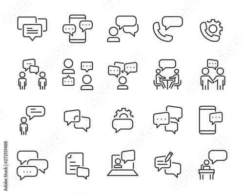 Obraz na plátně set of discussion line icons, meeting, bubble, chat, conversation, social