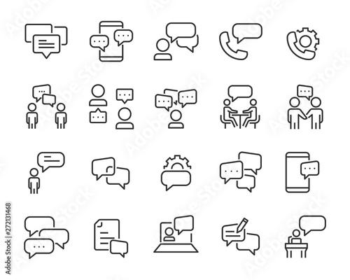 set of discussion line icons, meeting, bubble, chat, conversation, social Fototapeta