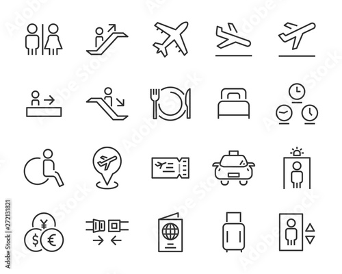 set of airport icons, such as airplane, ticket, flight, travel Wallpaper Mural
