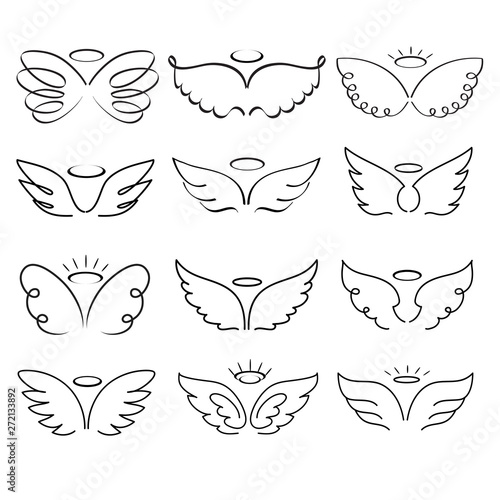 Valokuva Angel wings drawing vector illustration