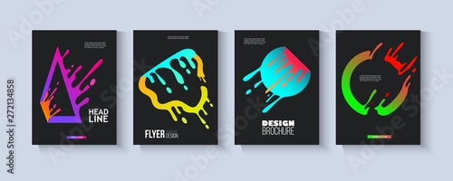 Flyer and brochure template set with modern splash shapes. Colorful triangle, circle, square with liquid paint splatter