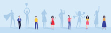 Men And Woman With Superhero And Successful People Shadows Vector Illustration.