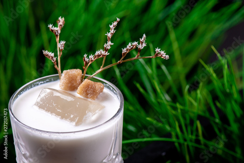Beautiful white cocktail based on Jack Daniels Honey, milk and macadamian syrup with ice in a faceted glass on the background of fresh greens Canvas Print
