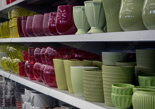 shelves with flower pots, garden store
