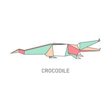 Origami Folded Paper Crocodile Flat Vector Illustration Isolated On White.