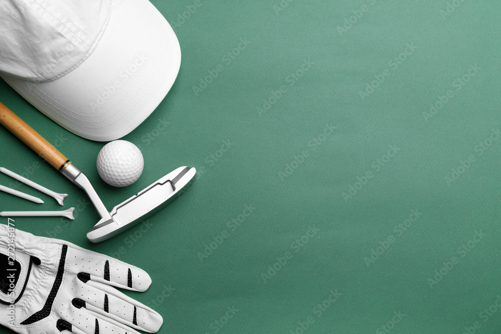 Fototapety, obrazy: Set of golf equipment on color background, flat lay. Space for text
