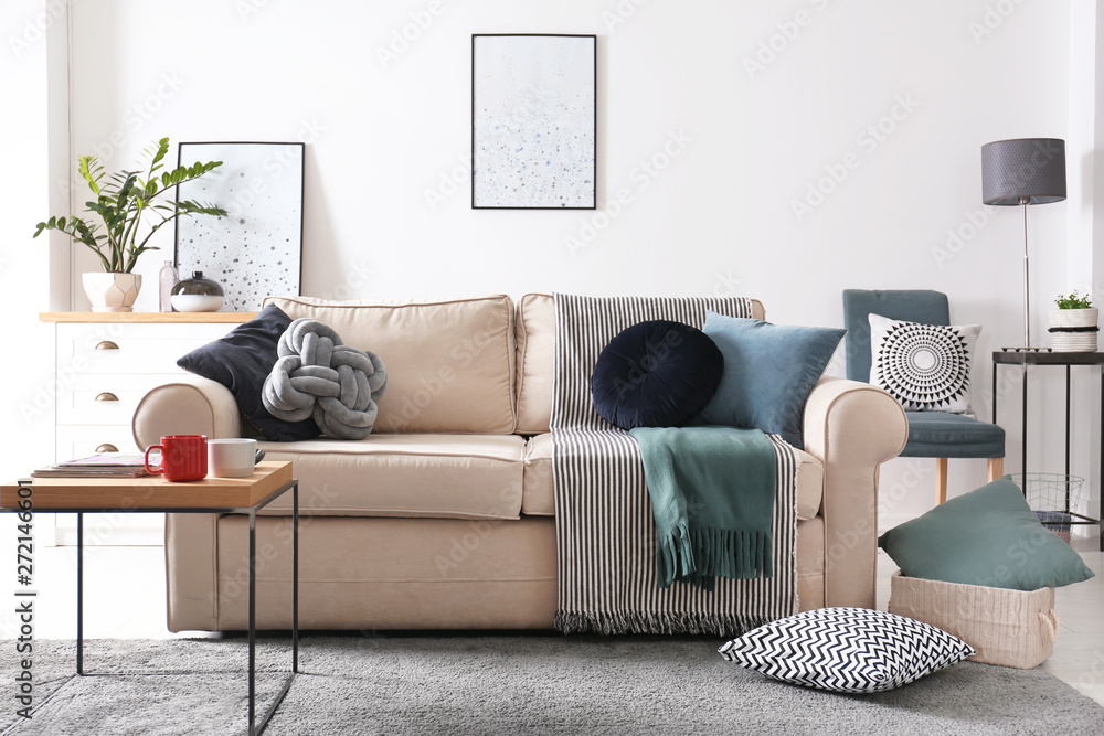Fototapety, obrazy: Living room interior with comfortable sofa and pillows