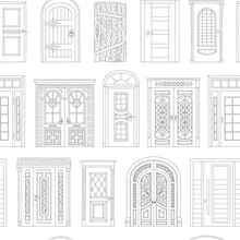 Doors Coloring Book Seamless Pattern - Black And White House Entrance Design From Medieval To Modern