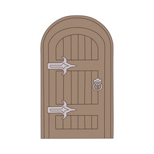 Wooden Door In The Old Or Fairy House Cartoon Vector Illustration Isolated.