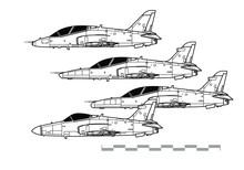BAE HAWK. Outline Vector Drawing