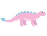 Fototapeta Dinusie - Ankylosaurus, cute cartoon dinosaur. Isolated vector illustratio