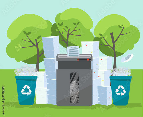 A Pile Of Paper And Documents Stands Above Big Floor Shredder In Front On Green Trees That is an actual shrine to the master deity behind it: adobe stock