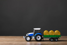 Farm Tractor Toy With Hay Trailer