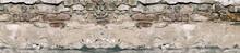 Panorama Old Damaged Brick Wal...