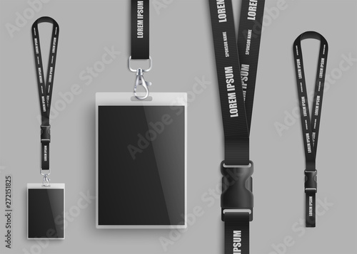 Photo Realistic ID card mockup with blank photo and name identification badge set