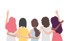 Diverse International Group Of Women Or Girl Hugging Together. Sisterhood, Friends, Union Of Feminists, Event Celebration. Girls Team On Isolated Background With Copy Space. Flat Vector Illustration.
