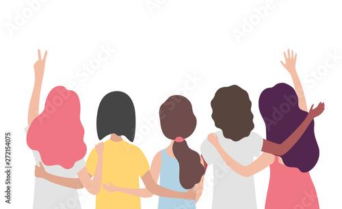 Diverse international group of women or girl hugging together Fototapet
