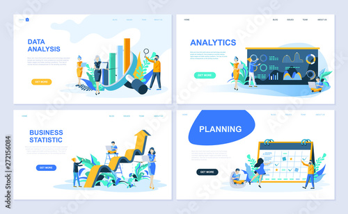 Photo  Set of landing page template for Data Analysis, Analytics, Business Statistic, Planning
