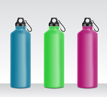 Colorful Water Bottle Set For Sport Drink, Realistic 3D Mockup Collection Of Metal Beverage Containers In Blue, Green, Pink Color