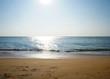 Sunny sandy coast on the ocean on the southern tropical island of Sri Lanka.