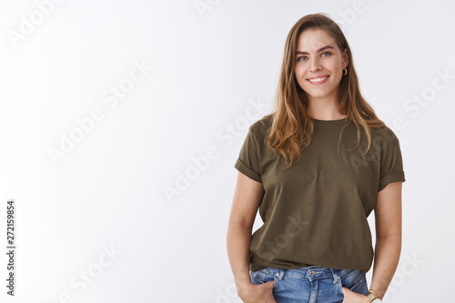 Fototapeta  Attractive modern young urban woman chestnut short haircut wearing olive t-shirt
