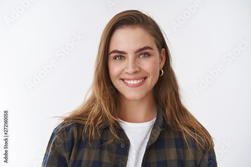 Close-up friendly-looking happy positive lucky young female wearing checked shir Tapéta, Fotótapéta