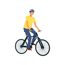 Happy Cyclist On Bicycle Ride, Young Cartoon Man Sitting On Modern Bike Wearing Helmet And Smiling