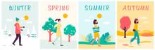 Seasons Banners Set With Walki...