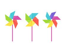 Pinwheel Baby Toy. Vector. Paper Windmill Icon. Set Kids Toys Isolated On White Background In Flat Design. Colorful Cartoon Illustration.
