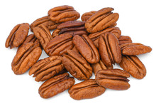 Pile Pecan Nuts Isolated On Wh...