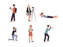 Photographers With Camera Taking Photo Flat Vector Set Illustrations Isolated.