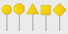 Set Of Metal Road Signs Isolat...