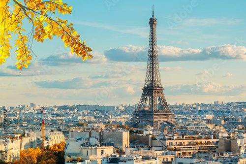 Photo sur Toile Paris eiffel tour and Paris cityscape