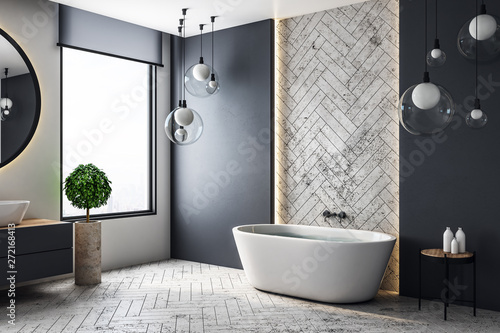 Pinturas sobre lienzo  Contemporary bathroom with copyspace