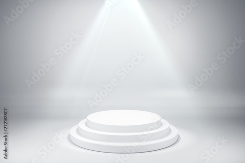 Photo  Illuminated round white pedestal