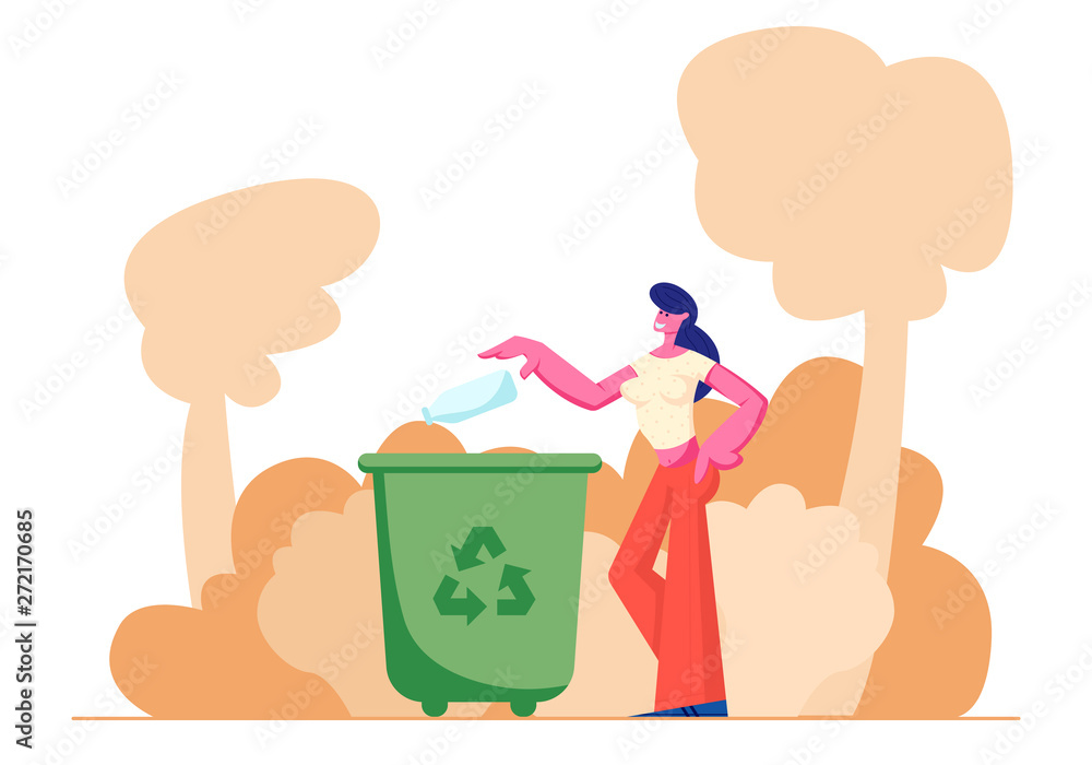 Fototapeta Female Character Throwing Trash into Litter Bin Container with Recycling Sign. Ecology Protection, Earth Pollution Problem, Woman Eco Activist, Plastic Reuse Solution Cartoon Flat Vector Illustration