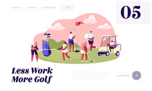 Young Characters With Golf Equ...