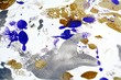 Gold blue white paint spots, abstract vivid watercolor background