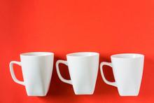 3 White Winter Coffee Cup Mugs...