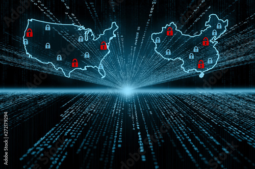 Fotografering  A cyber security concept with the countries of America and China overlayered ove