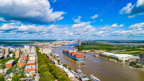 Savannah, Georgia, USA Downtown Skyline Aerial