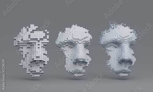 Fototapeta Abstract human face, 3d illustration of a head constructing from cubes, artificial intelligence concept obraz