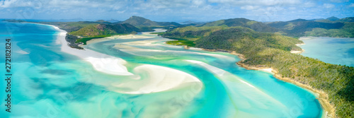 Fond de hotte en verre imprimé Recifs coralliens Hill Inlet at Whitehaven Beach on Whitesunday Island, Queensland, Australia